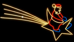 Iluminación Navideña Estrella de cola con Papa Noel 300x171 Catálogo de Iluminación